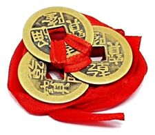 Feng Shui Lucky Chinese I Ching Coins Set of 3 tied 23mm Red Ribbon I-Ching Luck