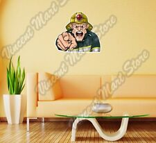 "Firefighter Screaming Fire Rescue Wall Sticker Room Interior Decor 25""X20"""