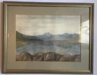 Watercolour Lake By Mountains Wales Signed Mounted And Framed