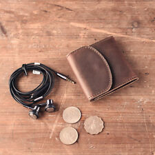 Genuine Leather Earphone Headphone Bag Coin Purse Case Cable Storage Box Holder