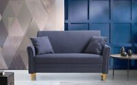 Modern Small Furniture Living Room Loveseat Sofa, 2 Accent Pillows, Grey