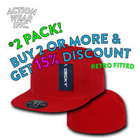 2 PACK DECKY RP1 MENS PLAIN FITTED HAT RETRO FLAT BILL HATS BASEBALL CAP CAPS