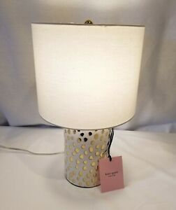 NEW Kate Spade FLAMINGO DOT Table Lamp Gold Gray Dots Ceramic with Cream Shade