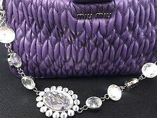 MIU MIU NIB shoulder/cross-body evening bag Matelasse Leather & Crystal strap