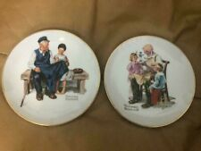 "Norman Rockwell Inspired Collector's Plates 1984 Lot Of 2 Piece 6.5 "" Each"