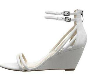 Women's Shoes Vince Camuto WYNTER Wedge Sandals Heels Leather Cotton Ball WHITE