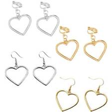 Fashion Women Lady Harajuku Hollow Out Love Heart Ear Hook Clip Earrings Jewelry