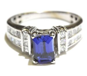 14k white gold .96ct VS1 G diamond created sapphire gemstone ring 4.9g estate