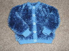 Childs Funky Fur Yarn Cardigan in Cobalt Blue to fit 0-6 months