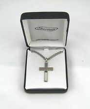 "Rhodium Plated Mens Silver Cross Fashion Necklace w 24"" Chain in Gift Box MC268"
