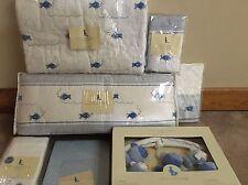 New 7pc Pottery Barn Kids Boy FISH Crib Quilt Bumper Mobile Set