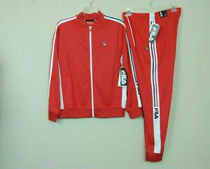 New FILA Men's Gym Fitness Jogger Tricot Tracksuit Jacket Pants Set Red SZ L XL
