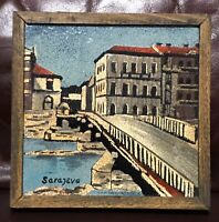 Mid Century Signed Sace Sarajevo Bosnia Enamel On Copper Scenic Framed Plaque