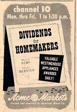 1955 TV AD~MARIAN KEMP & GLADYS WEBSTER~SHOP N SAVE~DIVIDENDS FOR HOMEMAKERS