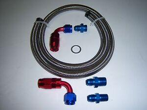 6AN STEEL BRAIDED FUEL LINE FOR EDELBROCK SINGLE FEED CARBURETOR RED/BLUE ENDS