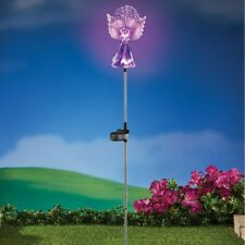 3 Foot Solar Powered Lighted Purple Angel with Fiber Optic Wings Garden Stake