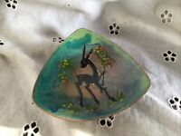 Stunning Enamelled Copper Dish With Deer Arts And Crafts Period