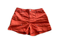 Size 12 Jeanswest Women's Denim Mom Shorts Dyed Orange With Pockets
