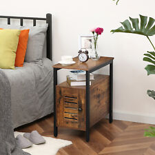 HOOBRO End Table with Cabinet Narrow Nightstand  Side Table with Louvered Door