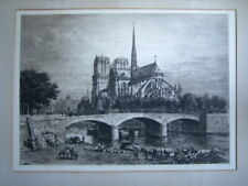 Fine antique etching of The Notre Dame Paris by Axel Hereman Haig