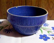 "Vintage Yellow Ware Stoneware 5 1/8"" Blue Mixing Bowl"