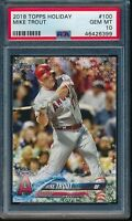 2018 Topps Holiday Mike Trout Card #100 #HMW100 PSA 10 Gem Mint Angels