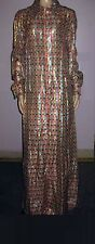 Vintage Long Sleeve Zip Front Metallic Maxi Dress