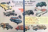 1937 Pontiac Silver Streak Vintage Advertisement Print Art Car Ad Poster LG76