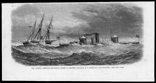 1865 Antique Print - USA Cape Hatteras Monadnock Ironclad Federal Gunboat  (06)