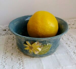 Bowl for soup, broth handmade ceramics covered with glaze with floral ornament
