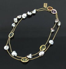 Estate 75ct Citrine Amethyst Quartz & Kashi Pearl 18K Gold By The Yard Necklace