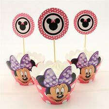 MINNIE MOUSE CUPCAKE TOPPERS & WRAPPERS 24PCS / PARTY SUPPLIES DISNEY BIRTHDAY