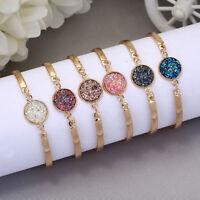 Women Natural Geode Stone Bangles Rhinestone Pave Bracelet Jewelry Gift Fashion