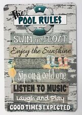 New Pool Rules Metal Sign   Home Decor   Beach Decor   Wall Decor   Pool