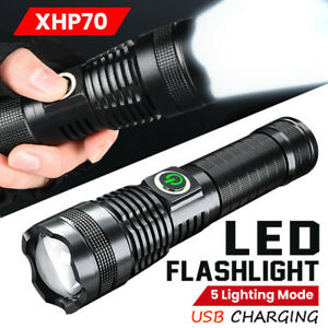 Rechargeable 1000000 lumens xhp70 most powerful LED Flashlight USB Zoom torch UK