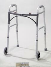 "Drive Medical Deluxe Adult Folding Walker, Two Button with 5"" Wheels, 350 lb"