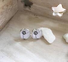 Handmade Vintage Ohrringe Ohrstecker Silber Pusteblume Schwarz Weiß Cabochon DIY