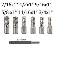 """6pc Set Annular Cutter 3/4"""" Weldon Shank 7/16 1/2 9/16 11/16 Magnetic Drill Bit"""
