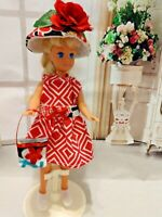 OOAK HANDMADE DOLL CLOTHES FOR SISTER STACIE DIAMOND PRINT DRESS OUTFIT SET
