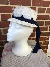 White Bow Blue Ribbon Bonnet Hat Small With Chin Strap Vintage Child's Cap