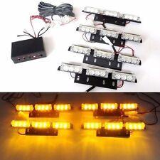 12V 9 LED 4 Bars Amber Car Flashing Emergency Grille Light Recovery Strobe - UK