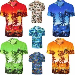 MENS HAWAIIAN SHIRT FLORAL FLOWER SUMMER BEACH SURF PARTY STAG OUTFIT S-XXXL