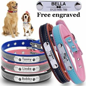 Leather Personalised Dog Collar Pet Cat Puppy Small Dog Collar Name Tag Engrave