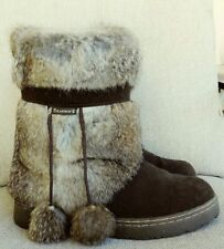 Bearpaw women's boots genuine rabbit bunny fur Brown suede size 7B