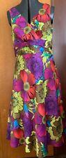 DEBENHAMS Lovely Ladies Multi-Coloured Floral Dress Size 16 Amazing Value