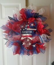 "18"" PATRIOTIC MESH WREATH JULY 4TH  MEMORIAL DAY USA BLUE AMERICA WHITE"