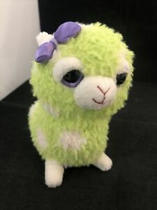 "Plush Llama Alpaca Soft Green Polka Dot Applause Applause 6"" Purple Bow Eyes"