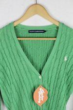 Womens RALPH LAUREN Cardigan CABLE KNIT Athletic SPORT Sweater SLIM Medium P46