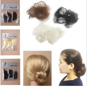 3 Hair Net Bun Cover Fine Snood Mesh Equestrian Slumber Sleek Cover Invisible