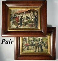 Pair Antique to Vintage French Market Oil Painting Pair, in Wood Frames